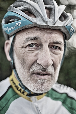 a portrait of a cyclist using a 50mm lens to show shallow depth of field.