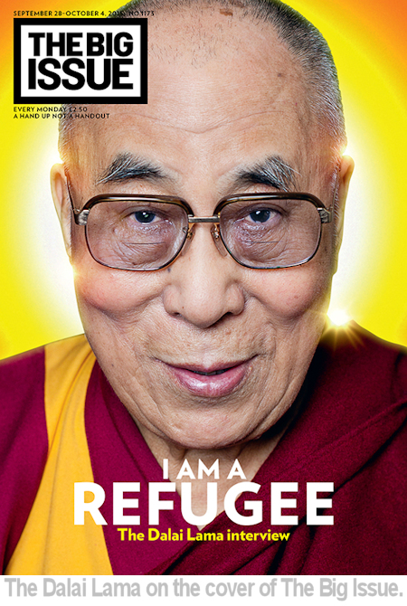 The Dalai Lama on the cover of the Big Issue