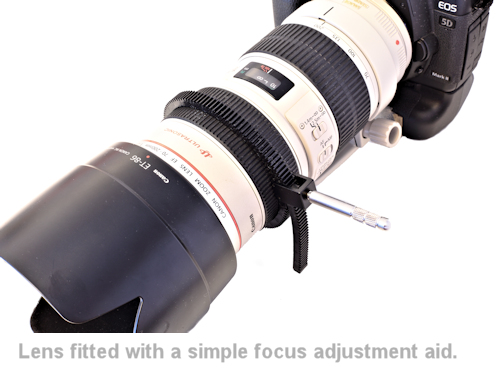 a lens fitted with a simple focussing aid