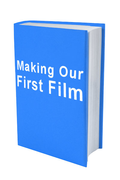 book with words makig our first film on the cover