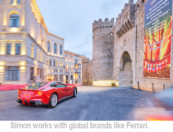 Simon works with major brands like Ferrari.