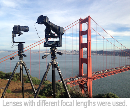 Lenses of different focal length were used to photograph the Bentley Mulsanne on the golden gate bridge.